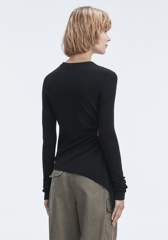 T by ALEXANDER WANG RUCHED CUTOUT SWEATER TOPS Adult 12_n_d