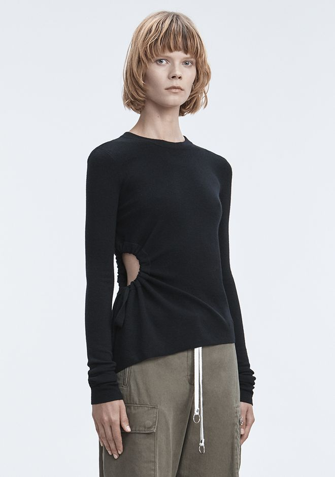 T by ALEXANDER WANG RUCHED CUTOUT SWEATER TOPS Adult 12_n_e
