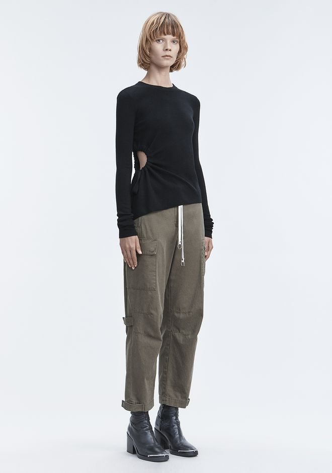 T by ALEXANDER WANG RUCHED CUTOUT SWEATER TOPS Adult 12_n_f