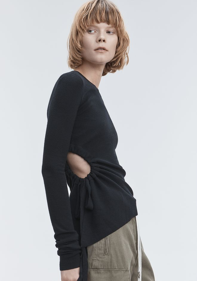 T by ALEXANDER WANG RUCHED CUTOUT SWEATER TOPS Adult 12_n_r