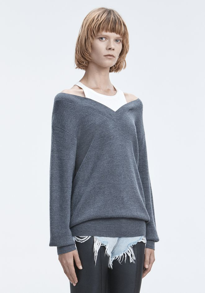 T by ALEXANDER WANG BI-LAYER KNIT SWEATER TOP Adult 12_n_a