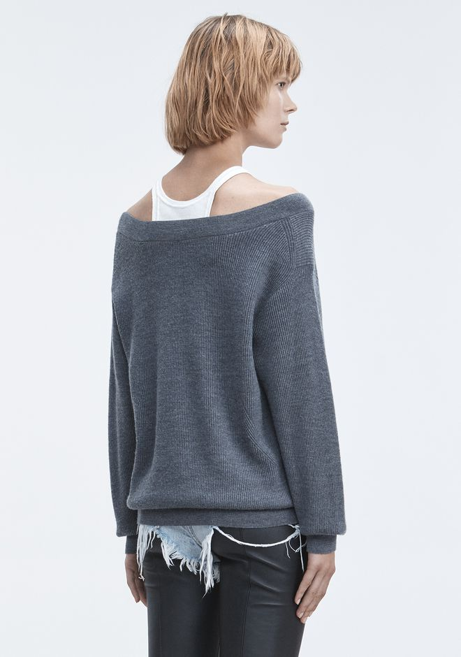 T by ALEXANDER WANG BI-LAYER KNIT SWEATER TOP Adult 12_n_d