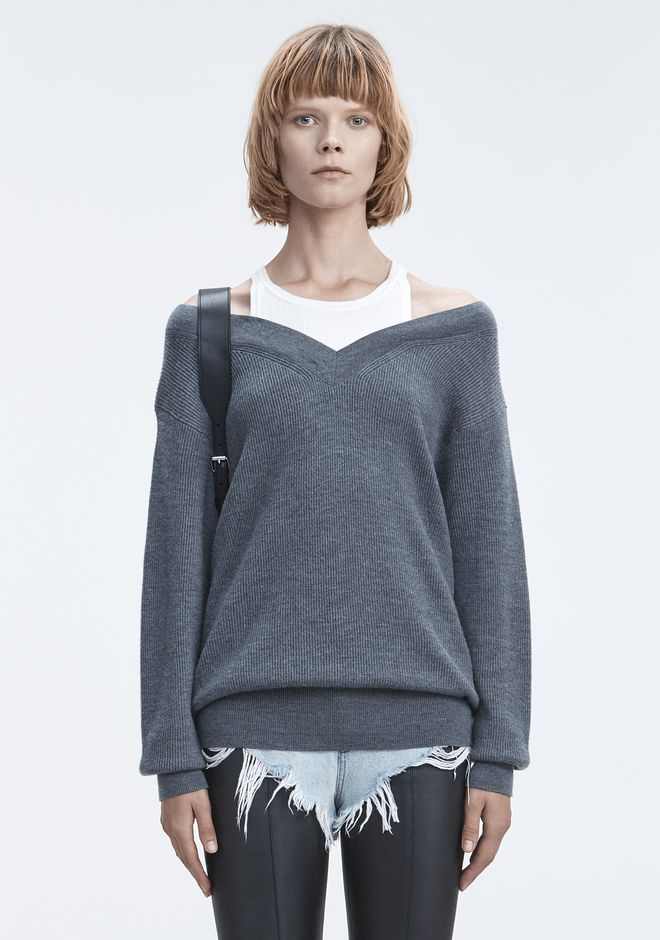 T by ALEXANDER WANG BI-LAYER KNIT SWEATER 上衣 Adult 12_n_e