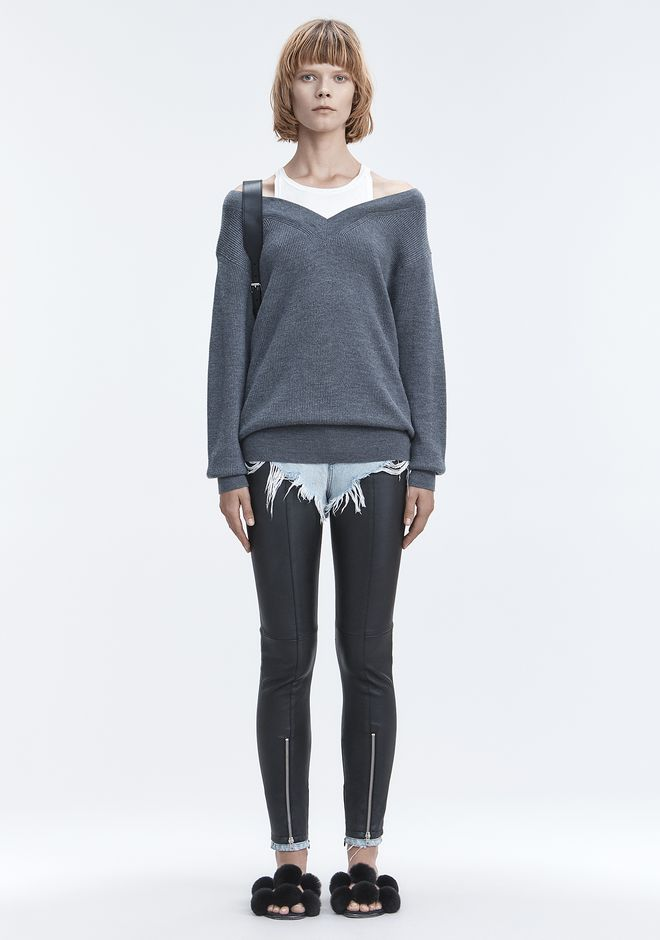 T by ALEXANDER WANG BI-LAYER KNIT SWEATER 上衣 Adult 12_n_f