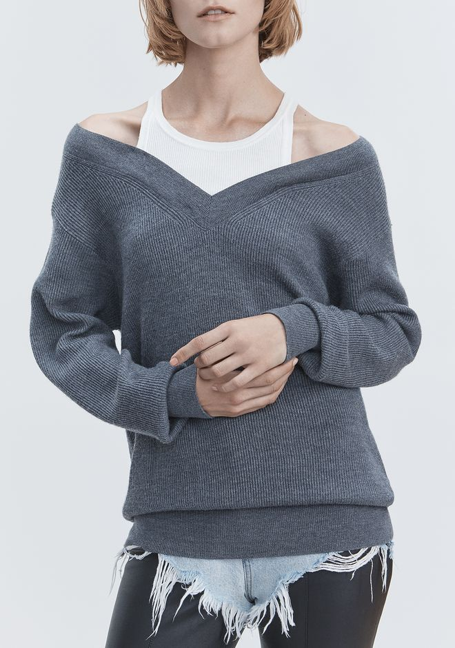 T by ALEXANDER WANG BI-LAYER KNIT SWEATER TOP Adult 12_n_r