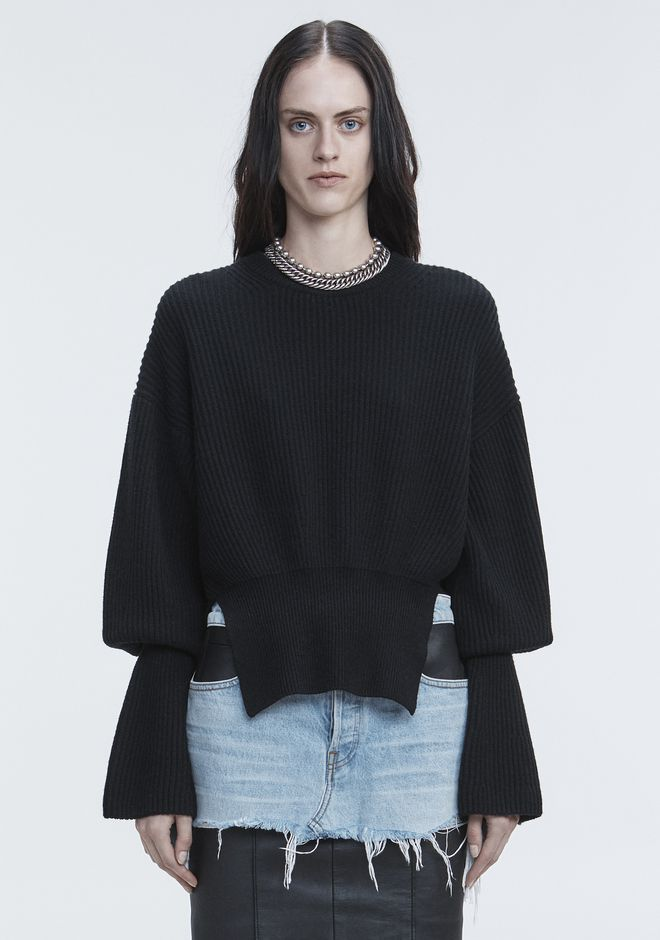 ALEXANDER WANG RIBBED WOOL PULLOVER TOP Adult 12_n_e