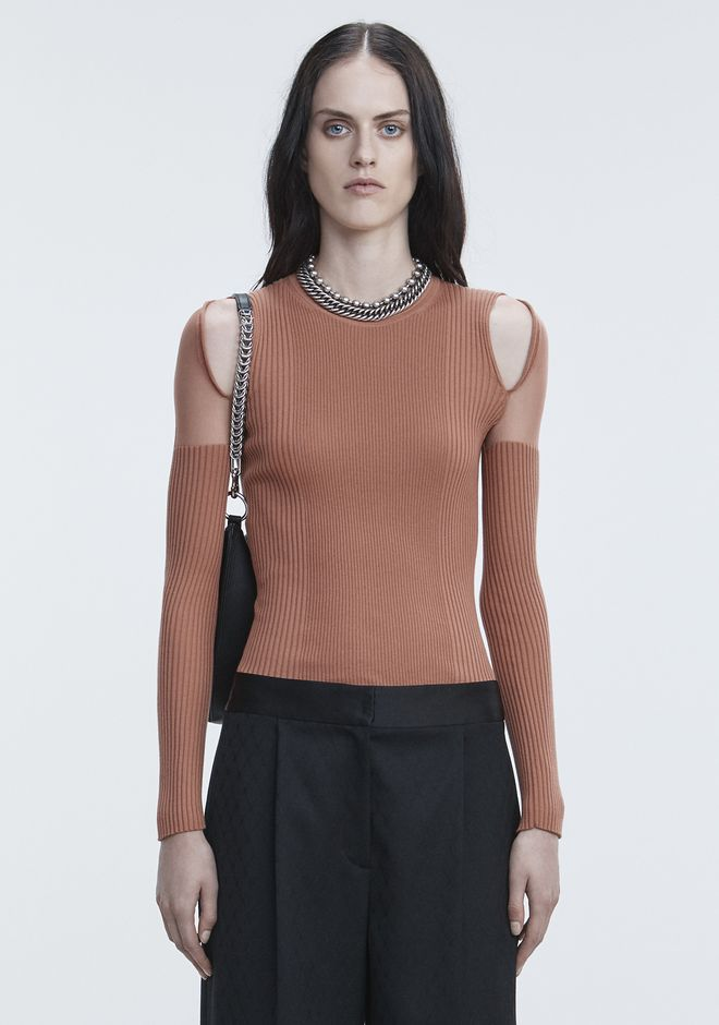 ALEXANDER WANG slrtwtp SHEER SHOULDER PULLOVER