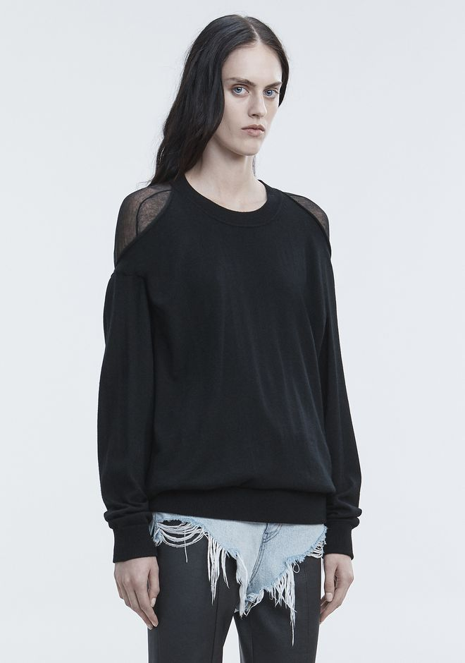 ALEXANDER WANG SHEER PEELAWAY PULLOVER TOP Adult 12_n_a