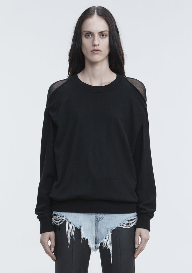 ALEXANDER WANG SHEER PEELAWAY PULLOVER TOP Adult 12_n_d