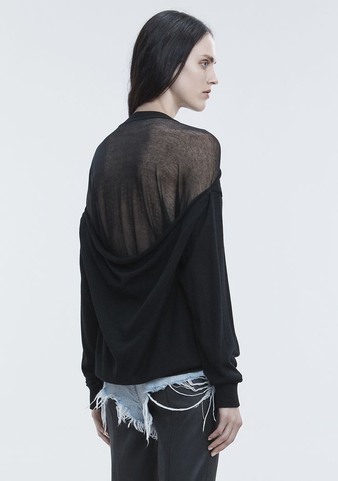 ALEXANDER WANG SHEER PEELAWAY PULLOVER TOP Adult 12_n_e