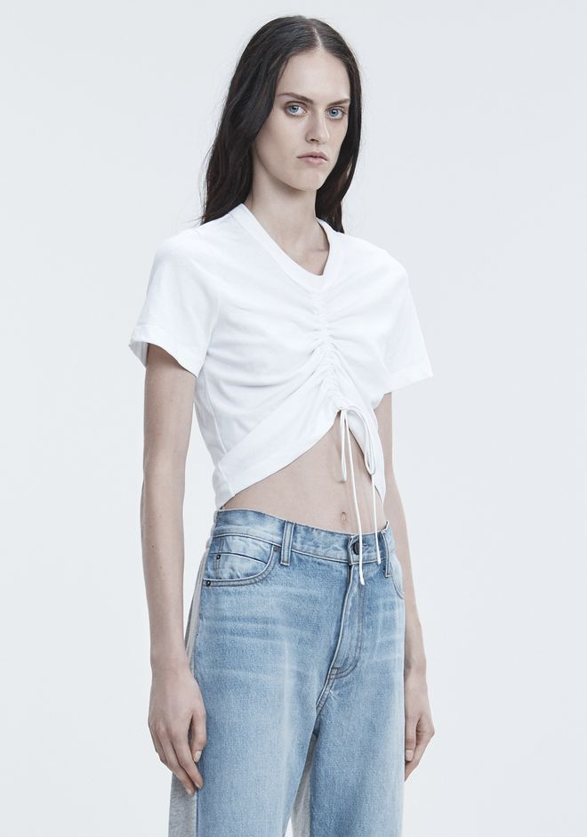T by ALEXANDER WANG GATHERED FRONT TSHIRT TOP Adult 12_n_a