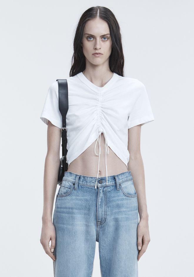 T by ALEXANDER WANG GATHERED FRONT TSHIRT TOP Adult 12_n_e