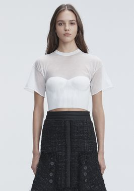 CROPPED TEE WITH MOLDED CUPS