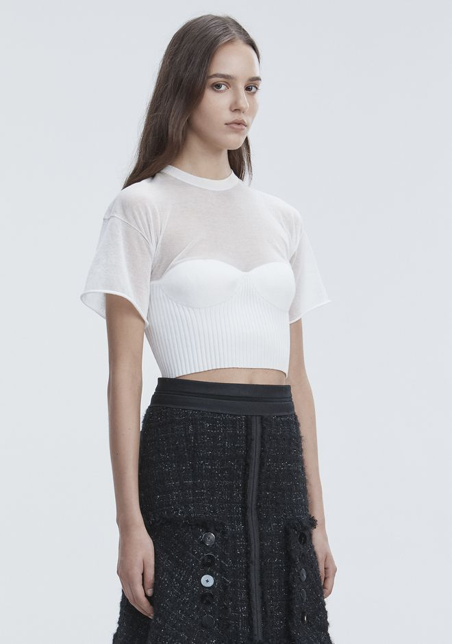 ALEXANDER WANG CROPPED TEE WITH MOLDED CUPS TOP Adult 12_n_a