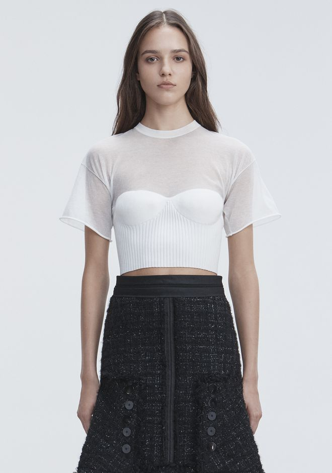 ALEXANDER WANG CROPPED TEE WITH MOLDED CUPS TOP Adult 12_n_e
