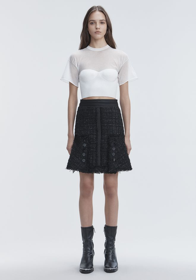 ALEXANDER WANG CROPPED TEE WITH MOLDED CUPS TOP Adult 12_n_f