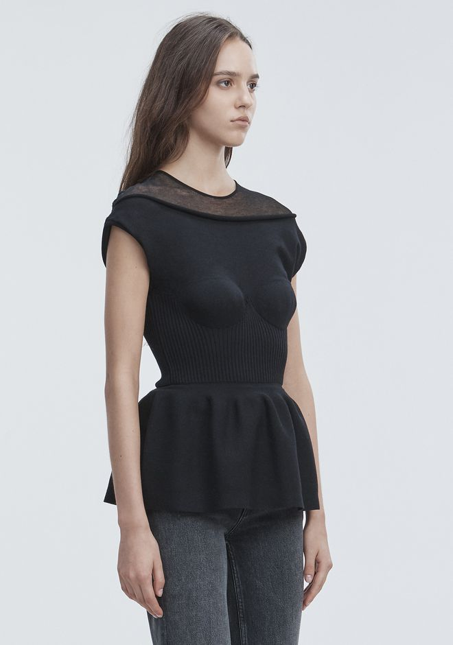 ALEXANDER WANG PEPLUM TANK WITH MOLDED CUPS TOP Adult 12_n_a