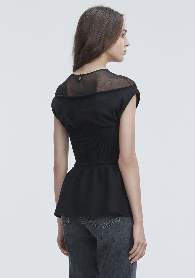 ALEXANDER WANG PEPLUM TANK WITH MOLDED CUPS TOP Adult 12_n_d