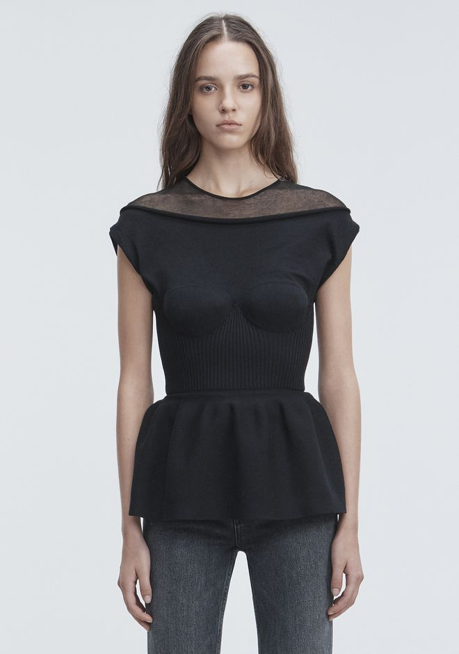 ALEXANDER WANG PEPLUM TANK WITH MOLDED CUPS TOP Adult 12_n_e