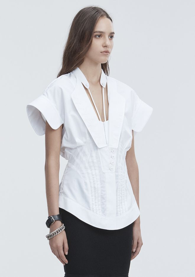 ALEXANDER WANG DECONSTRUCTED POPLIN SHIRT TOPS Adult 12_n_a