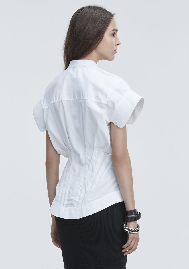 ALEXANDER WANG DECONSTRUCTED POPLIN SHIRT TOPS Adult 12_n_d