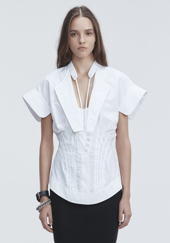 ALEXANDER WANG DECONSTRUCTED POPLIN SHIRT TOPS Adult 12_n_e