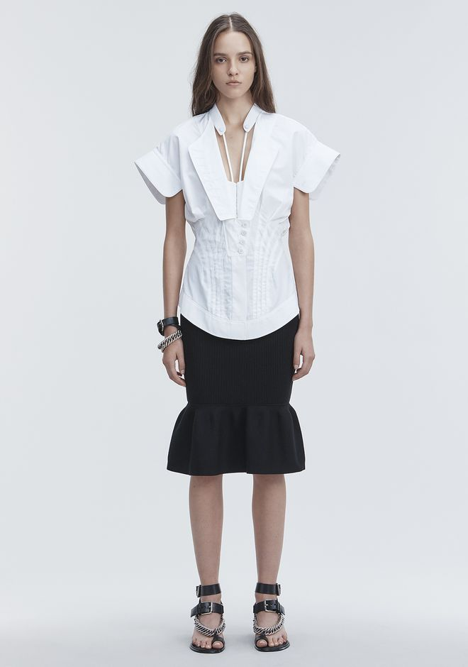 ALEXANDER WANG DECONSTRUCTED POPLIN SHIRT TOPS Adult 12_n_f