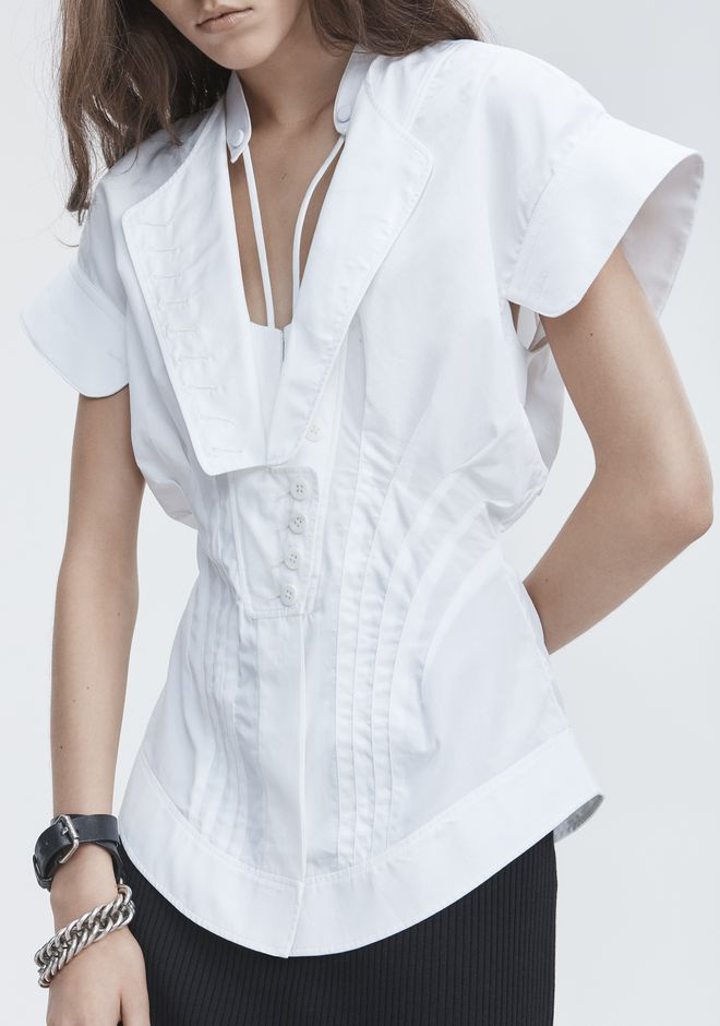 ALEXANDER WANG DECONSTRUCTED POPLIN SHIRT TOPS Adult 12_n_r