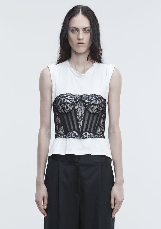 ALEXANDER WANG new-arrivals-ready-to-wear-woman LACE BUSTIER TROMPE L'OEIL SHIRT