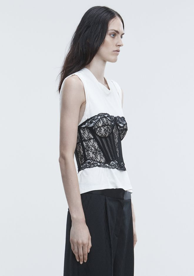 ALEXANDER WANG LACE BUSTIER TROMPE L'OEIL SHIRT TOPS Adult 12_n_a