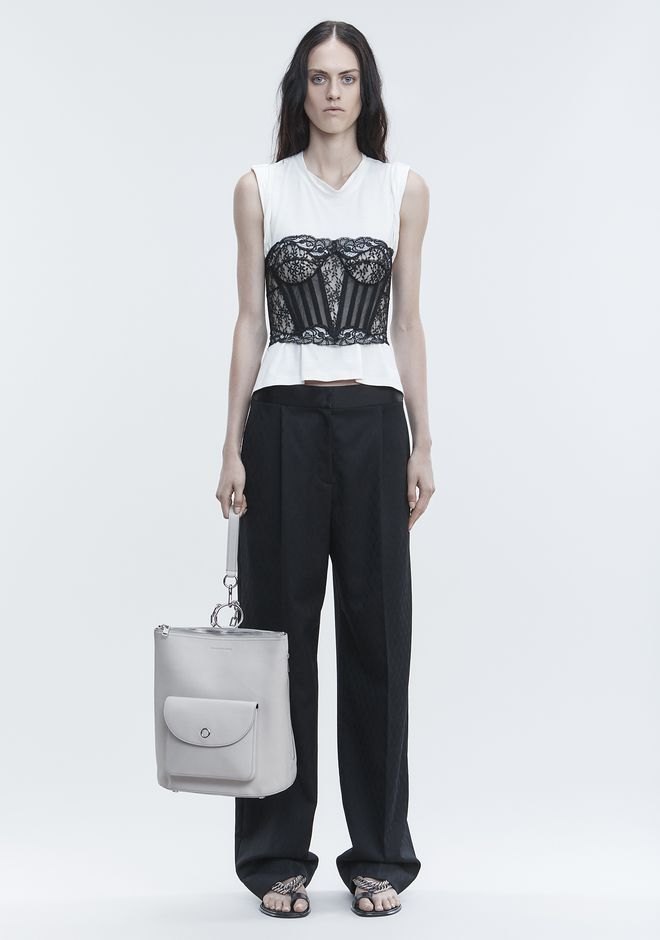 ALEXANDER WANG LACE BUSTIER TROMPE L'OEIL SHIRT TOP Adult 12_n_f