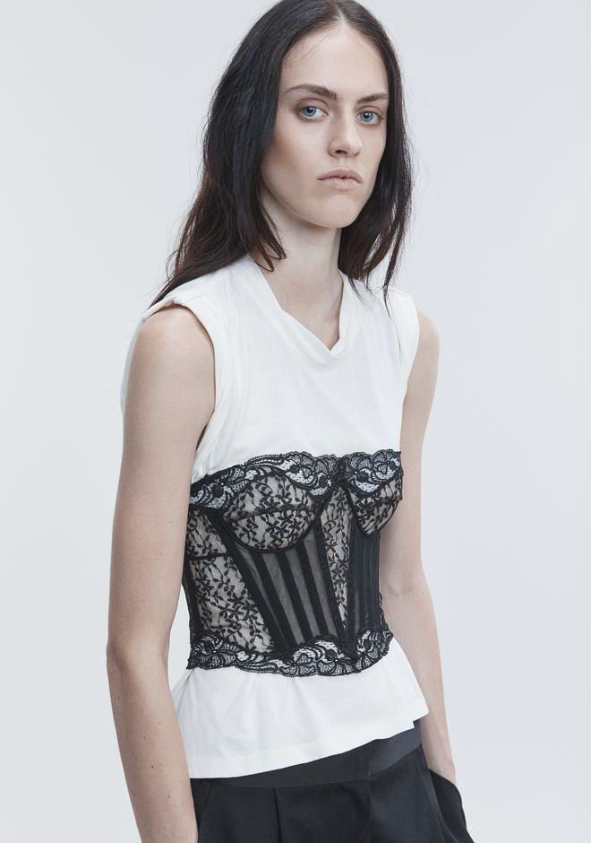 ALEXANDER WANG LACE BUSTIER TROMPE L'OEIL SHIRT TOPS Adult 12_n_r