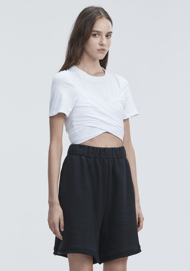 T by ALEXANDER WANG HIGH TWIST CROPPED TEE TOP Adult 12_n_a