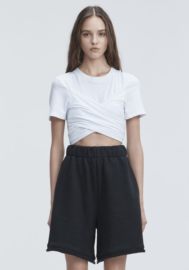 T by ALEXANDER WANG HIGH TWIST CROPPED TEE TOP Adult 12_n_e