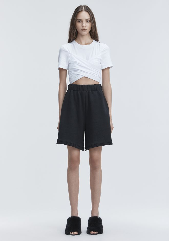 T by ALEXANDER WANG HIGH TWIST CROPPED TEE TOP Adult 12_n_f