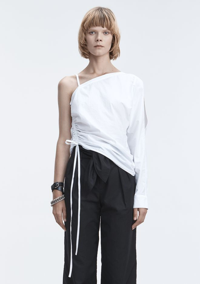 T by ALEXANDER WANG sltbssw ONE-SLEEVE RUCHED TOP