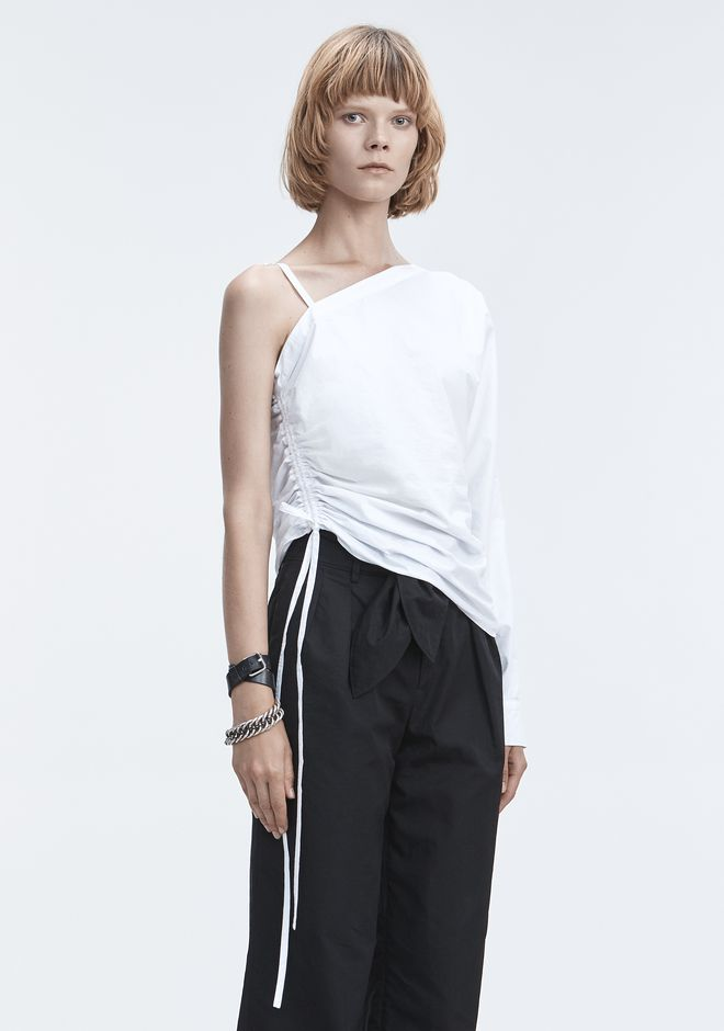 T by ALEXANDER WANG ONE-SLEEVE RUCHED TOP TOP Adult 12_n_a
