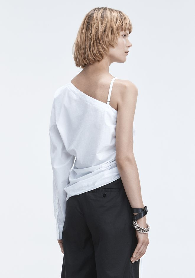 T by ALEXANDER WANG ONE-SLEEVE RUCHED TOP TOPS Adult 12_n_d