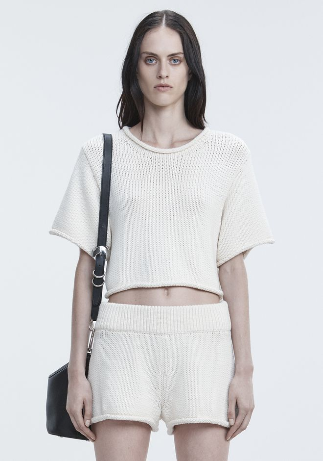 T by ALEXANDER WANG TOPS KNIT SHORT SLEEVE SWEATER