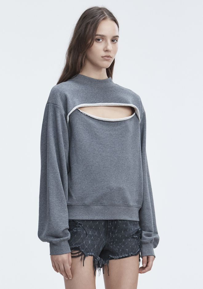 T by ALEXANDER WANG SLIT-FRONT SWEATSHIRT TOP Adult 12_n_a
