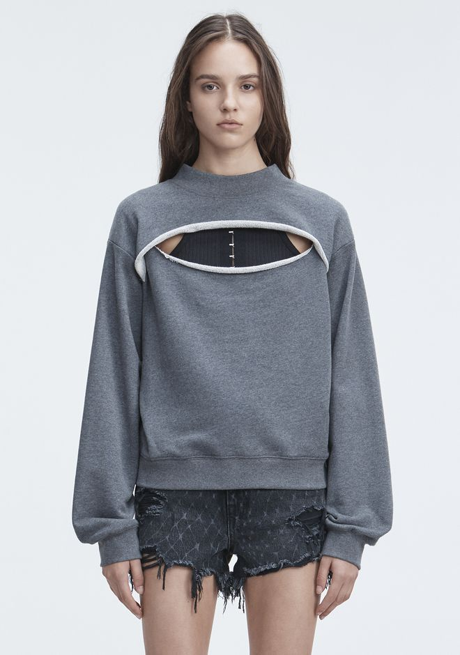 T by ALEXANDER WANG SLIT-FRONT SWEATSHIRT TOP Adult 12_n_e