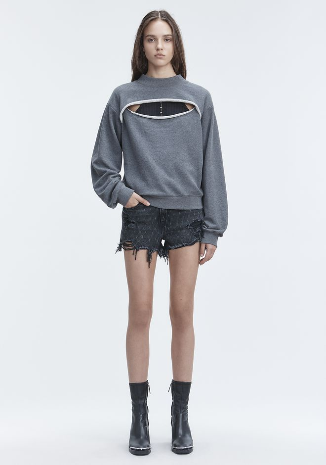 T by ALEXANDER WANG SLIT-FRONT SWEATSHIRT TOP Adult 12_n_f