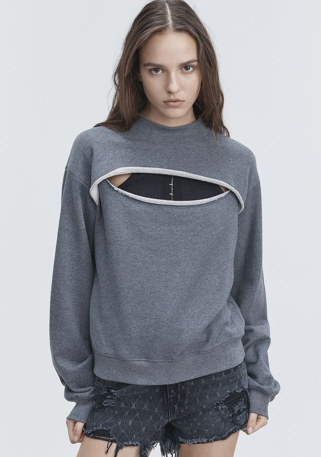 T by ALEXANDER WANG SLIT-FRONT SWEATSHIRT TOP Adult 12_n_r