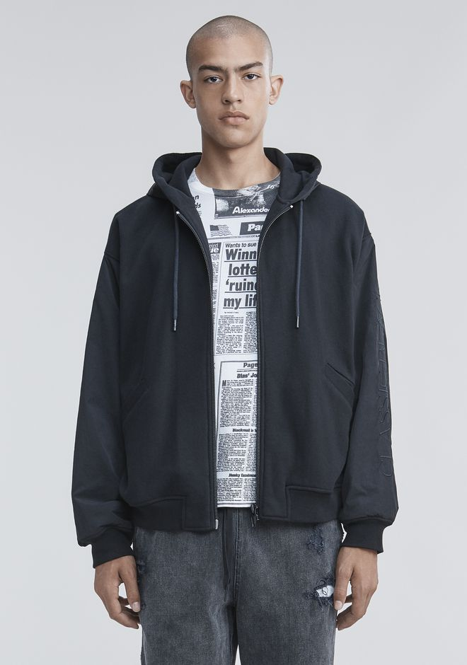 ALEXANDER WANG TOPS Men FLEECE NYLON COMBO HOODIE