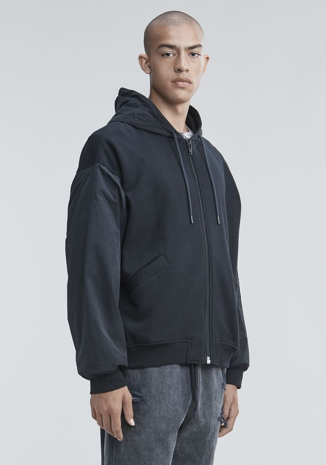 ALEXANDER WANG FLEECE NYLON COMBO HOODIE TOP Adult 12_n_a