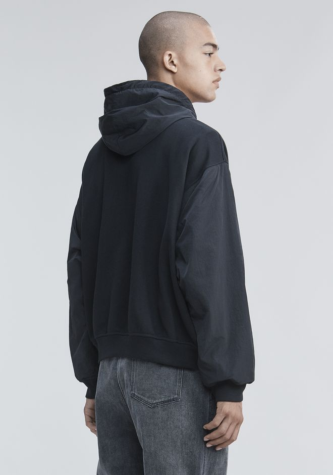 ALEXANDER WANG FLEECE NYLON COMBO HOODIE TOP Adult 12_n_d