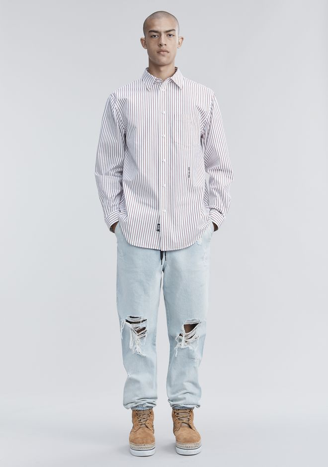 ALEXANDER WANG PINSTRIPE PAGE SIX SHIRT TOP Adult 12_n_f