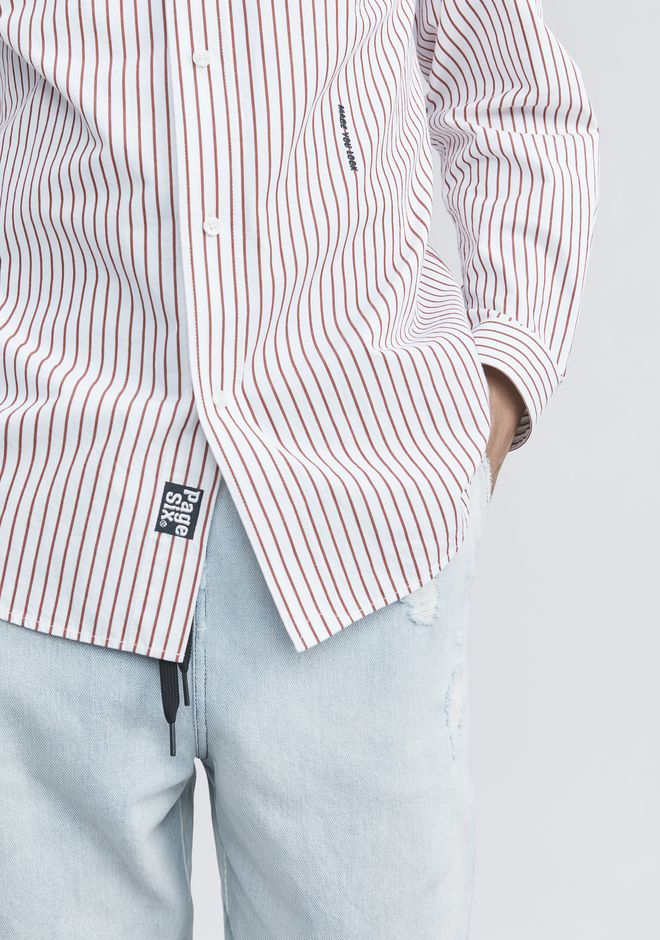 ALEXANDER WANG PINSTRIPE PAGE SIX SHIRT TOP Adult 12_n_r