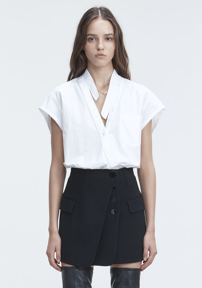 T by ALEXANDER WANG TOPS COTTON POPLIN BODYSUIT