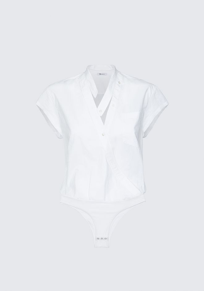 T by ALEXANDER WANG COTTON POPLIN BODYSUIT  TOP Adult 12_n_d
